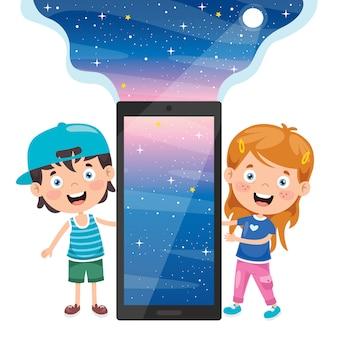 Konzept der verwendung von digitalgeräten