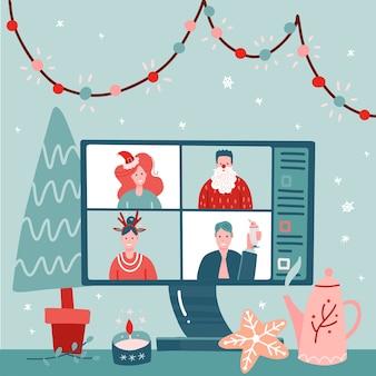 Konzept der videokonferenz, webkommunikation. teambesprechung online. lächelnder mann, frauen arbeiten