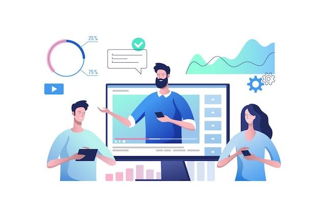 Konzept der videopräsentation und schulung