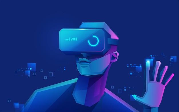 Konzept der virtual-reality-technologie, grafik eines jugendlichen spielers, der ein vr-head-mounted-spiel trägt