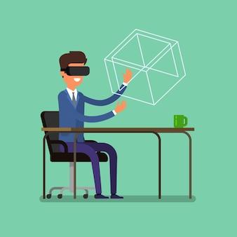 Konzept der virtuellen realität. karikaturgeschäftsmann, der das virtual-reality-headset verwendet.