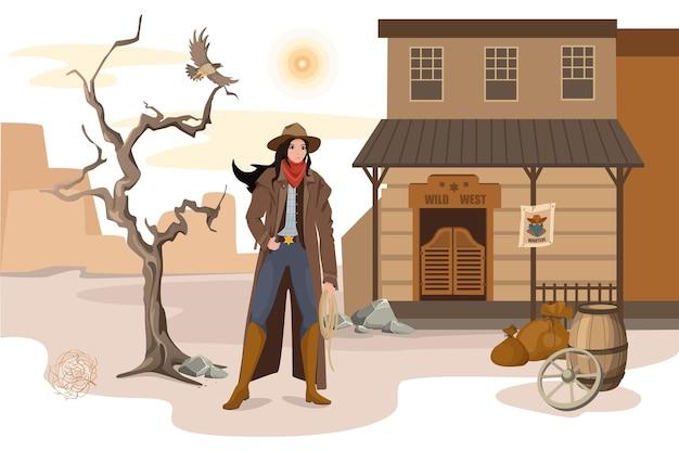 Konzept der wild-west-szene. sheriff-frau steht mit einem seil in der hand auf dem hintergrund des saloons in der wüste. traditionelle amerikanische western-aktivitäten. vektor-illustration von charakteren im flachen design