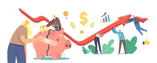 Konzept der wirtschaftlichen erholung. geschäftsleute arbeiten zusammen rising arrow graph versuchen, während der globalen krise zu überleben. geschäftsfrau-stick-patch auf gebrochenem sparschwein. cartoon-vektor-illustration