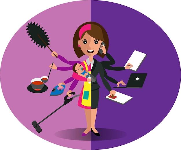 Konzept der work-life-balance, aufteilung zwischen arbeit und zuhause. überall mithalten. vektor-illustration. junge geschäftsfrau im anzug und im roten kleid mit schürze, die ein baby in ihren armen hält.