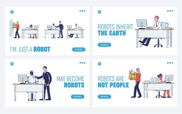 Konzept der zusammenarbeit von mensch und roboter. website landing page.