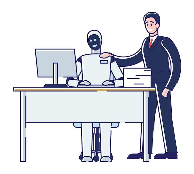 Konzept der zusammenarbeit von mensch und roboter.