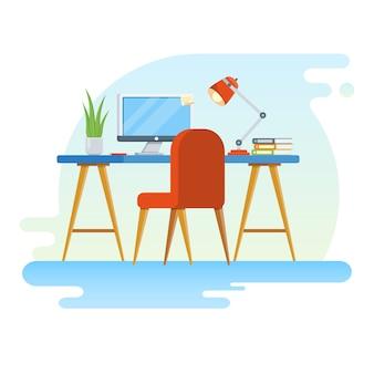 Konzept des arbeitsplatzes mit computer und büroausstattung.