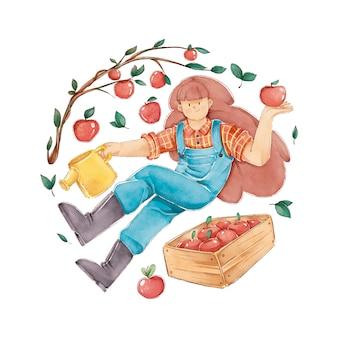 Konzept des biologischen landbaus mit äpfeln