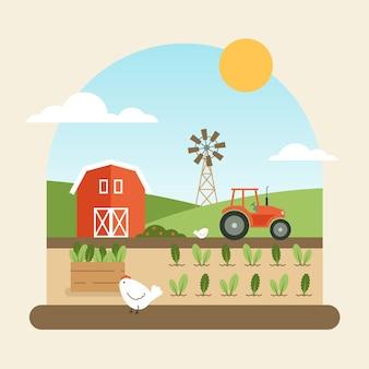 Konzept des biologischen landbaus mit bauernhof