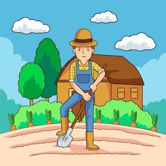 Konzept des biologischen landbaus mit dem mann, der den gräber verwendet