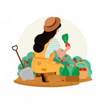 Konzept des biologischen landbaus mit frau und ernten