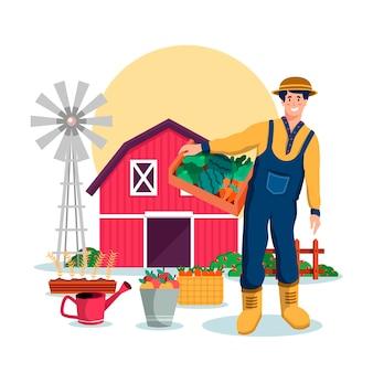 Konzept des biologischen landbaus mit landwirt und ernte