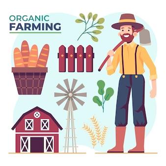 Konzept des biologischen landbaus mit mann- und bauernhofgegenständen