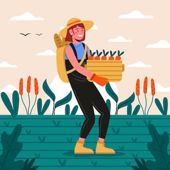 Konzept des biologischen landbaus mit person