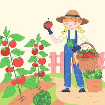 Konzept des biologischen landbaus mit tomatenernte