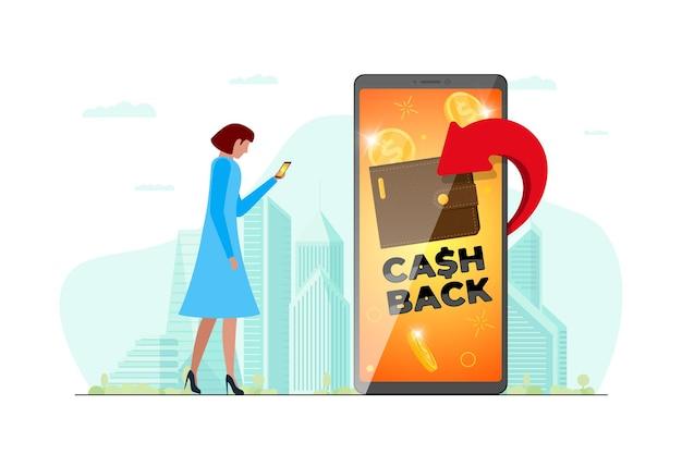 Konzept des cashback-treueprogramms. geldbörse mit zurückgegebenen münzen auf dem smartphone-bildschirm in der hand der frau auf der stadtstraße. design der rückerstattungsfinanzierung. bonus-cash-back-symbol-vektor-illustration