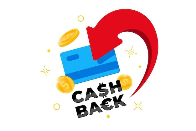 Konzept des cashback-treueprogramms. kredit- oder debitkarte mit zurückgegebenen münzen auf das bankkonto. geld zurückerstatten nach dem kauf service-design. bonus-cash-back-symbol-vektor-eps-illustration