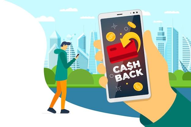 Konzept des cashback-treueprogramms. kredit- oder debitkarte mit zurückgegebenen münzen auf dem smartphone-bildschirm in der hand des mannes auf der stadtstraße. geldservice-design zurückerstatten. bonus-cash-back-symbol-vektor-illustration