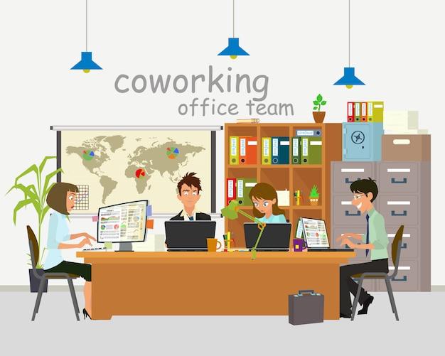 Konzept des coworking centers. geschäftstreffen. gemeinsame arbeitsumgebung. menschen arbeiten, diskutieren und kommunizieren im büro.