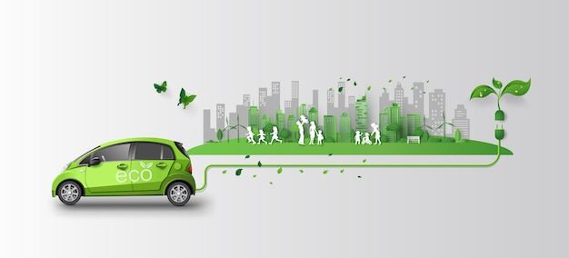 Konzept des eco autos mit familie und natur in der stadt.