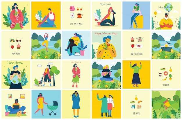 Konzept des einzigartigen hintergrunds der frauen. stilvolle illustrationskarte mit glücklicher weiblicher frau und handzeichnungszitat seien sie einzigartig