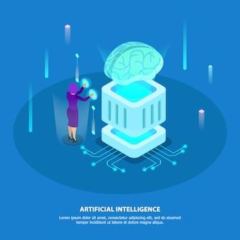 Konzept des entwurfes der künstlichen intelligenz mit isometrischen glühenikonen des supercomputerchips und des digitalen robotergehirns