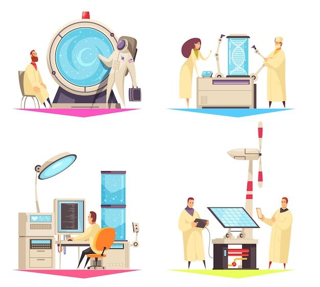 Konzept des entwurfes der wissenschaft 2x2 der forschung auf dem gebiet der medizinischen roboter der biotechnologie und der flachen illustration der grünen energie