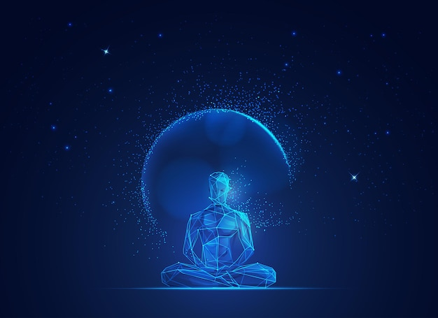Konzept des erleuchtungsgeistes, grafik des drahtmodell-mannes, der mit weltraumhintergrund meditiert