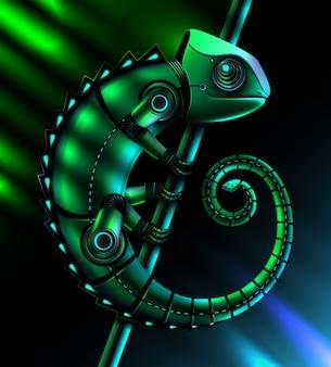 Konzept des fiktiven grünen metallischen roboter-reptilienchamäleons mit türkisfarbenen leds