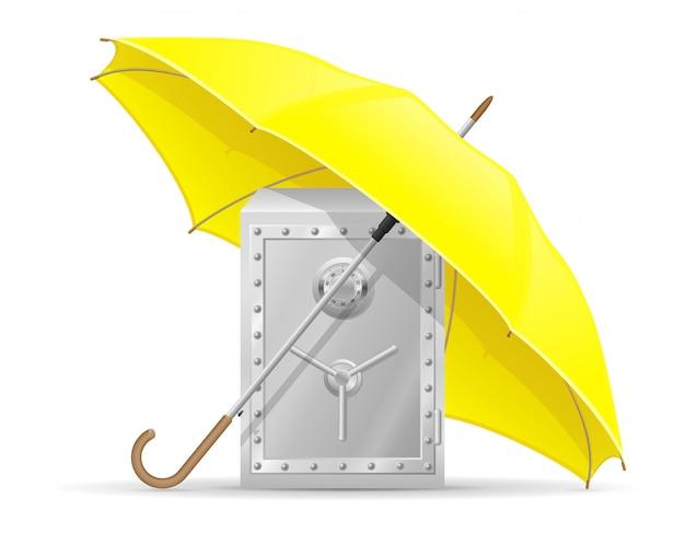 Konzept des geschützten und versicherten safes mit geldregenschirm-vektorillustration