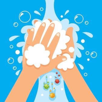 Konzept des händewaschens mit seife