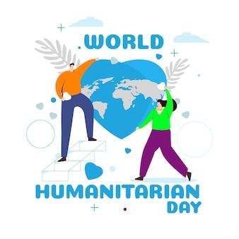 Konzept des humanitären tages der flachen entwurfswelt