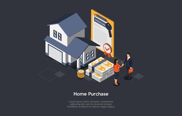 Konzept des immobilienkaufs.