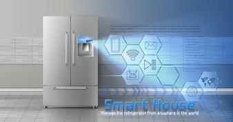 Konzept des intelligenten Hauses, iot, drahtlose digitale Technologien, um Haushalt zu steuern und zu steuern