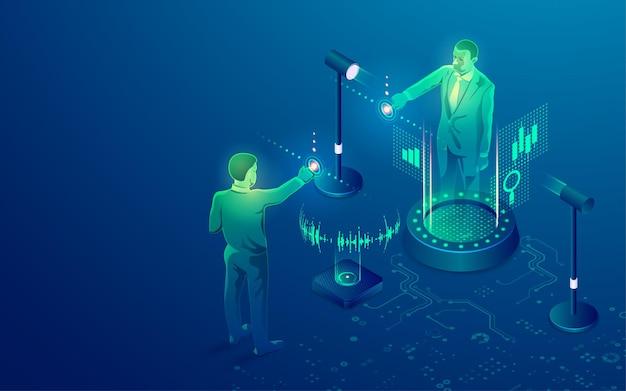 Konzept des intelligenten meetings oder der arbeit von zu hause aus, grafik des geschäftsmannes, der sich auf einer virtual-reality-konferenz verbindet