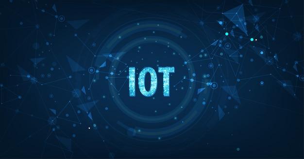 Konzept des internet der sachen (iot) daten-wolken-datenverarbeitungsnetz der körperlichen geräte mit sicherer netzkonnektivität auf dunkelblauem
