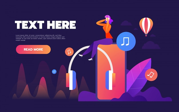 Konzept des internet-online-musik-streaming hören, entspannen menschen hören, musik-anwendungen, playlist online-songs, musik-blog,