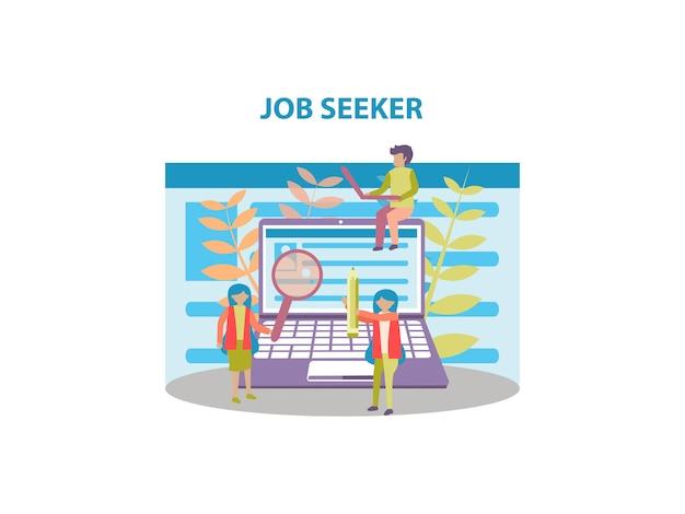 Konzept des jobsuchensuchers hintergrunddesign für webseite