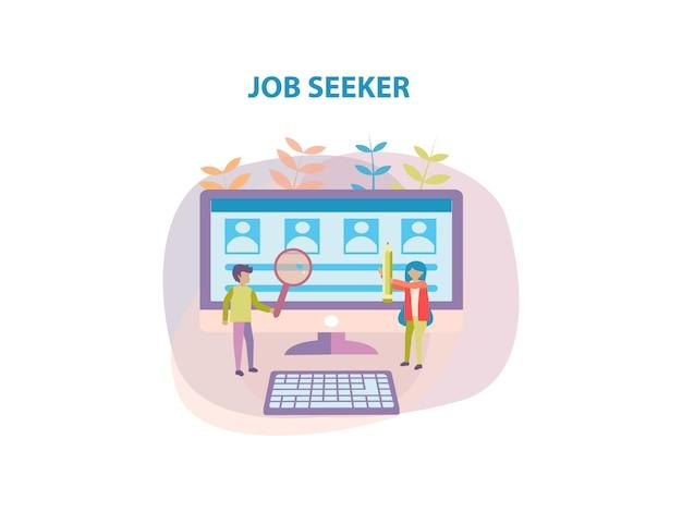 Konzept des jobsuchers hintergrunddesign für die webseite