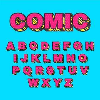 Konzept des komischen alphabetes 3d