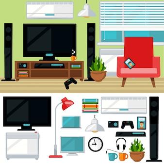 Konzept des kreativen wohnzimmers mit stuhl und fernsehen