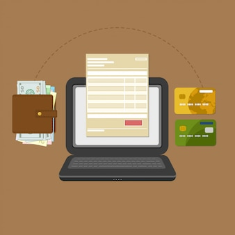 Konzept des lohnrechnungssteueron-line-kontos über computer oder laptop.