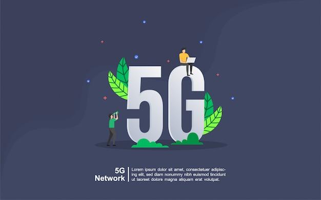 Konzept des netzes 5g mit leutecharakter