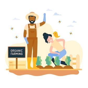 Konzept des ökologischen landbaus mit glücklichen menschen