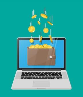 Konzept des online-einkommens. einnahmen im internet-netzwerk. elektronische brieftasche.