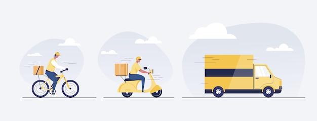Konzept des online-lieferservice. lieferbote, lkw, roller und fahrrad. lieferant. vektor-illustration.