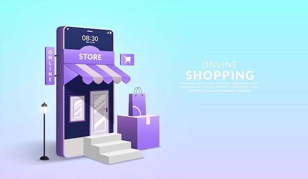 Konzept des online-shoppings auf der website und der mobilen anwendung 3d-smartphone mit einkaufstasche