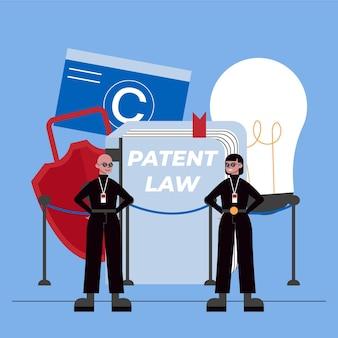 Konzept des patentrechts und der sicherheitskräfte