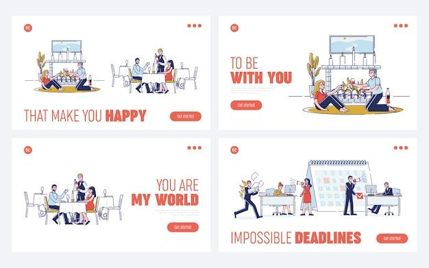 Konzept des romantischen abendessens. website landing page.