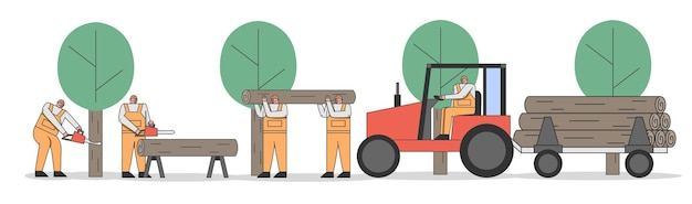 Konzept des schneidens von bäumen. professioneller sägewerksarbeiter trägt riesige baumstämme auf traktoren-anhänger für die weiterverarbeitung. globale abholzung. cartoon linearer umriss flacher stil. vektorillustration
